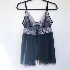 victoria's secret   sheer black chemise large